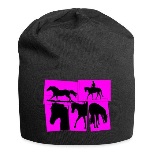 Pferde-Collage-schwarz_pink - Jersey-Beanie