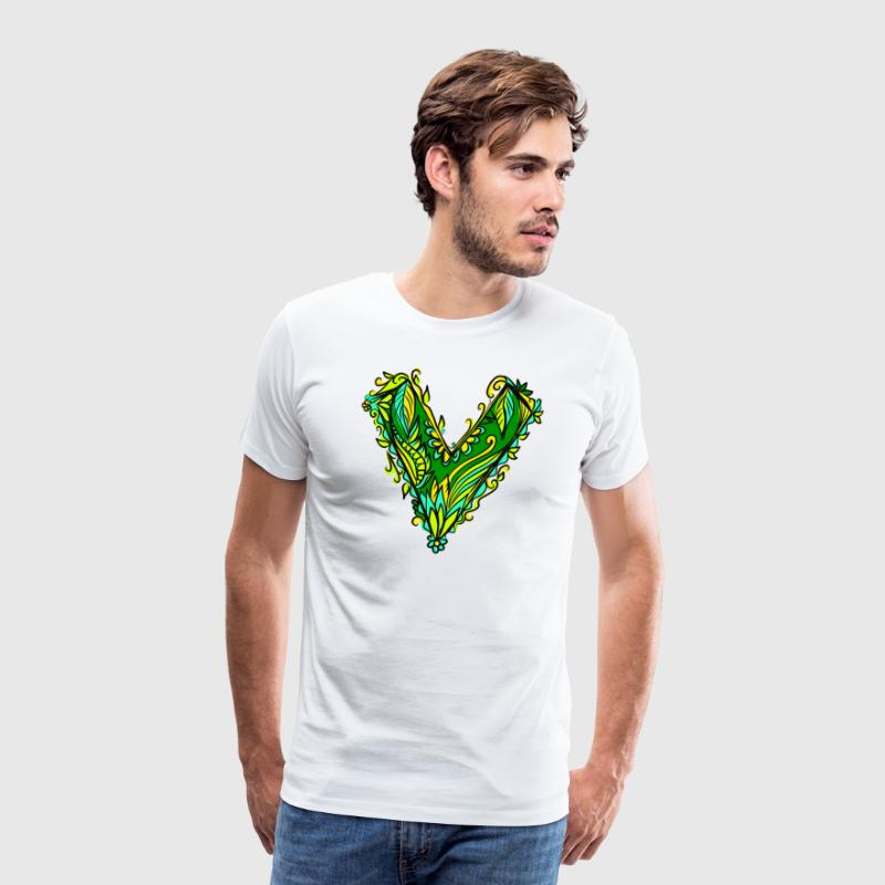 V like vegan, vegetarian, plant power, save earth Camisetas - Camiseta premium hombre