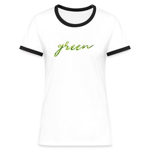 T-Shirt Contraste Femme Green - T-shirt contrasté Femme
