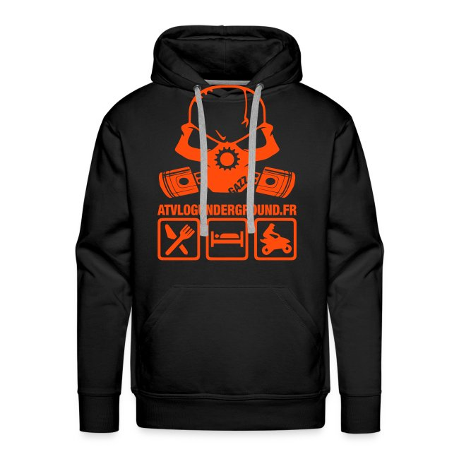 Sweat Capuche Personnalisable (flocage Dos, buste) noir/orange
