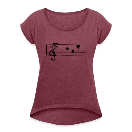 Notenkatze - Frauen T-Shirt mit gerollten Ärmeln