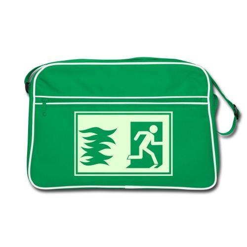Grüne Tasche mit Notausgang (Leuchtet im Dunkeln) - Retro Tasche