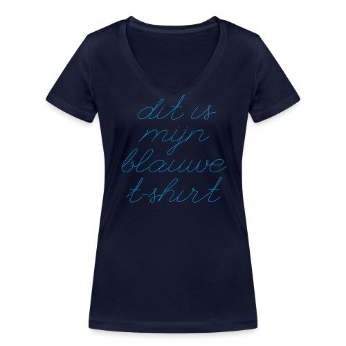 Blauw t-shirt vrouwen v-hals bio - Vrouwen bio T-shirt met V-hals van Stanley & Stella