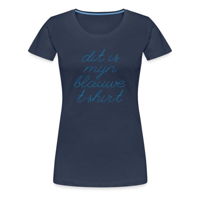 Blauw t-shirt vrouwen premium