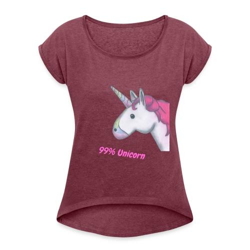 T-Shirt von Hi5 99% Unicorn - Frauen T-Shirt mit gerollten Ärmeln