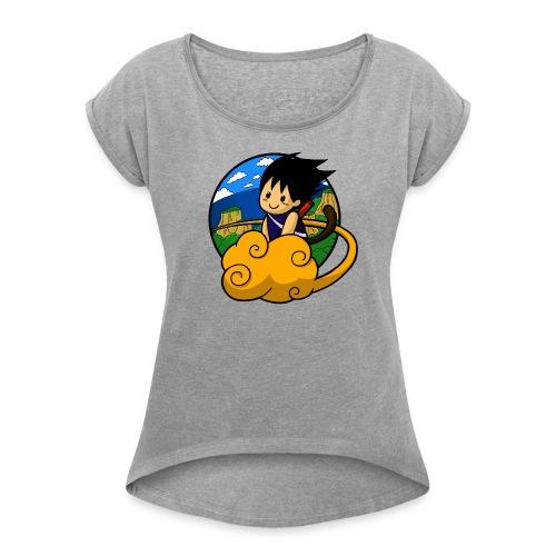 Boy on cloud - Girly Shirt - Frauen T-Shirt mit gerollten Ärmeln