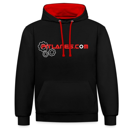 Pitlanes.com Black/Red Contrast Hoodie - Contrast Colour Hoodie