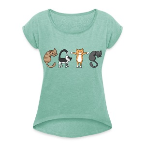 CATS - Women's Scoop Neck T-shirt - Women's T-shirt with rolled up sleeves