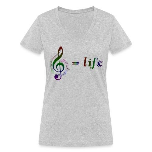 Music = life - Frauen Bio-T-Shirt mit V-Ausschnitt von Stanley & Stella