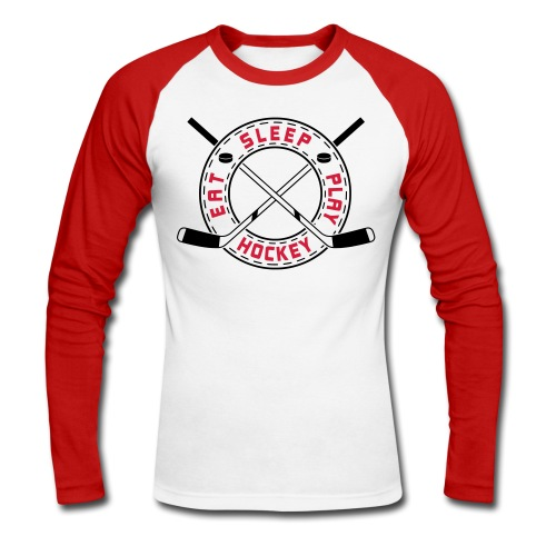 Eat, Sleep, Play Hockey Men's Baseball T-Shirt - Men's Long Sleeve Baseball T-Shirt