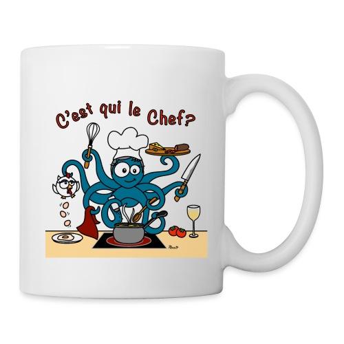 Tasse Poulpe Cuistot C'est qui le Chef? - Mug blanc