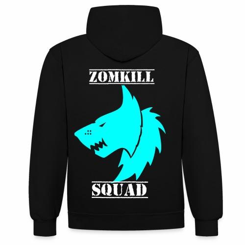 L.Blue Survival Wolf Pack Unisex Hoodie - Black/Grey - Contrast Colour Hoodie