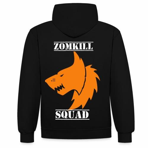 Orange Survival Wolf Pack Unisex Hoodie - Black/Grey - Contrast Colour Hoodie