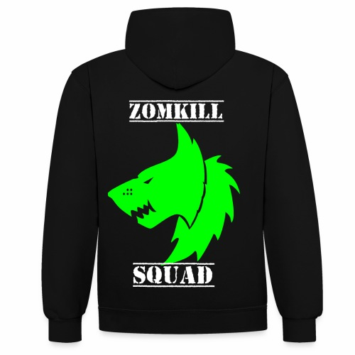 Green Survival Wolf Pack Unisex Hoodie - Black/Grey - Contrast Colour Hoodie