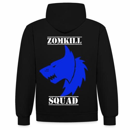 Blue Survival Wolf Pack Unisex Hoodie - Black/Grey - Contrast Colour Hoodie