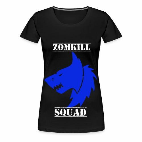 Blue Survival Wolf Pack Womens T-Shirt - Black   - Women's Premium T-Shirt