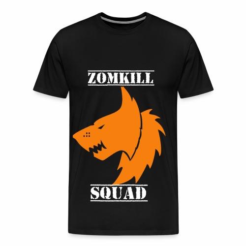 Orange Survival Wolf Pack Mens T-Shirt - Black   - Men's Premium T-Shirt