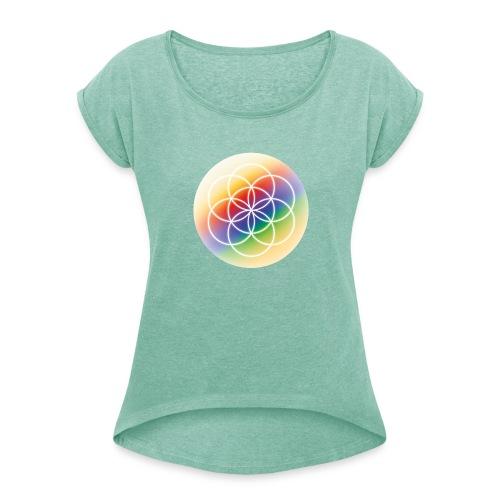 Saat des Lebens - Seelenlicht Orakel - Frauen T-Shirt mit gerollten Ärmeln