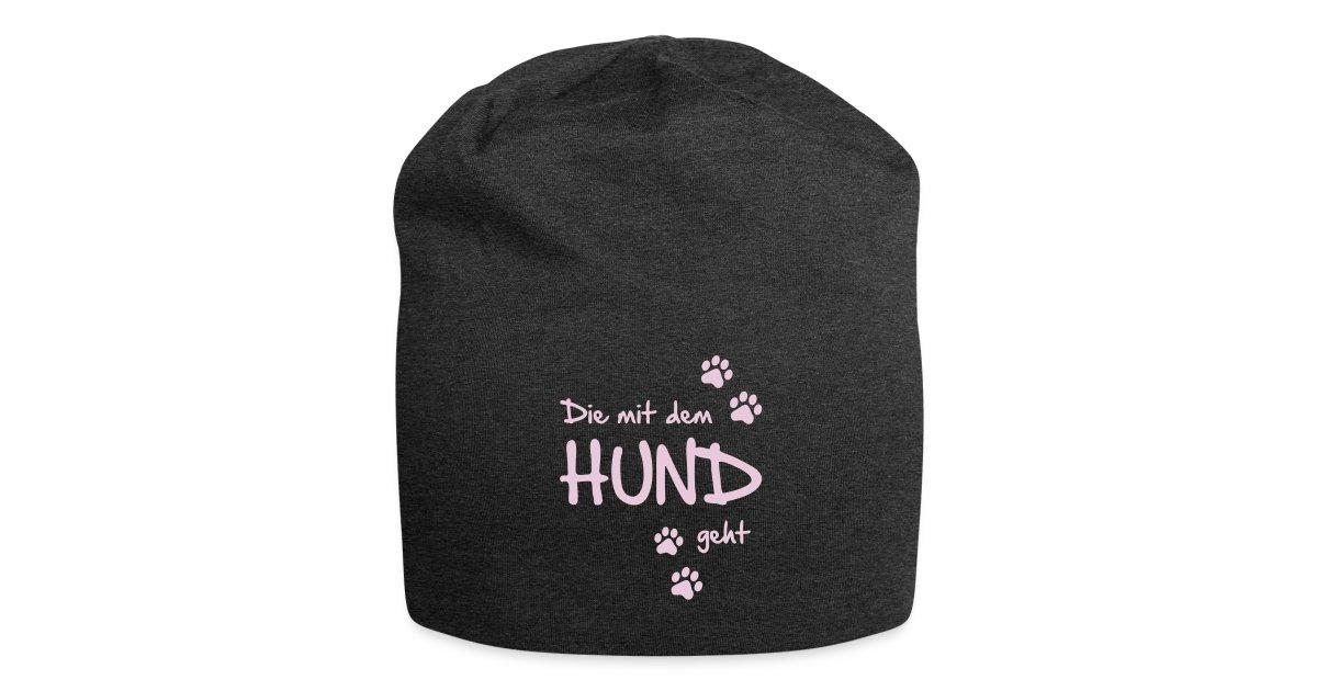 Hunde Fanshop   T-Shirts und Geschenke für Hundefreunde   Jersey-Beanie -  Die mit dem HUND geht - Jersey-Beanie 5d86ad463c