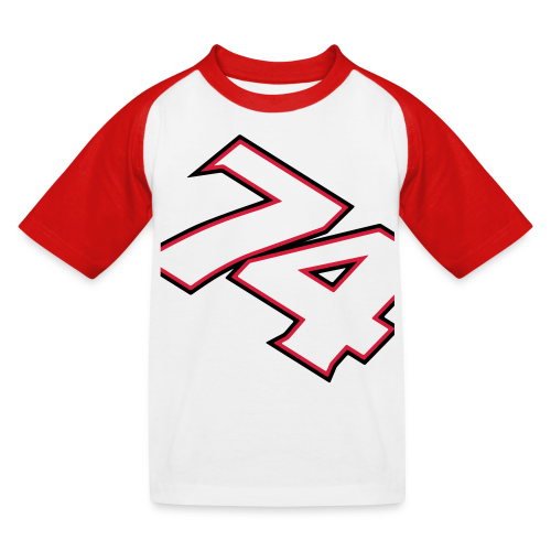 NEW! #74 Red/White, Childrens t-shirt - Baseboll-T-shirt barn