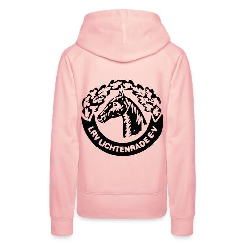 Rosa Kapuzenpulli mit LRV-Logo und Schriftzug vorn - Frauen Premium Hoodie