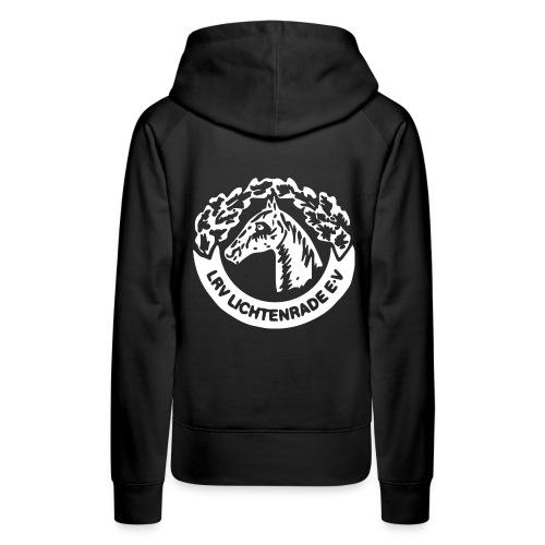 Schwarzer Kapuzenpulli mit LRV-Logo und Schriftzug vorn - Frauen Premium Hoodie