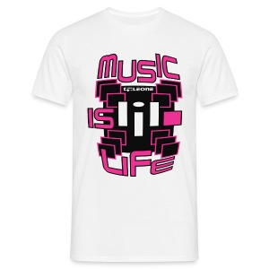 MUSIC IS LIFE  WHITE - 2 - T-shirt Homme