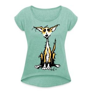 Rauhaar podi - Frauen T-Shirt mit gerollten Ärmeln