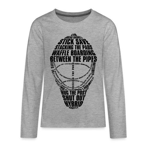 Hockey Goalie Mask Typography Teenager's Long Sleeve T-Shirt - Teenagers' Premium Longsleeve Shirt