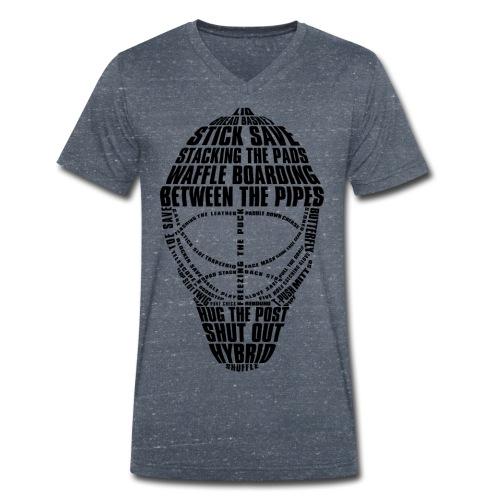 Hockey Goalie Mask Typography Men's V-Neck T-Shirt - Men's Organic V-Neck T-Shirt by Stanley & Stella