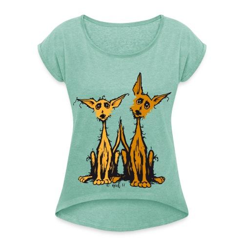 a sweet duo! - Frauen T-Shirt mit gerollten Ärmeln