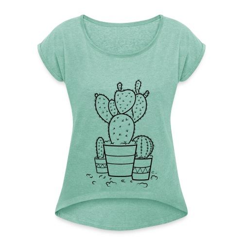 """T-shirt Femme Cactus bien piquants"""" - T-shirt à manches retroussées Femme"""
