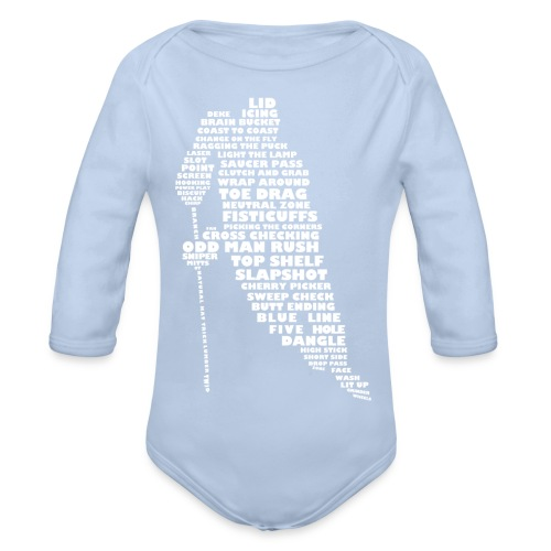 Hockey Player Typography Baby Onepiece - Organic Longsleeve Baby Bodysuit