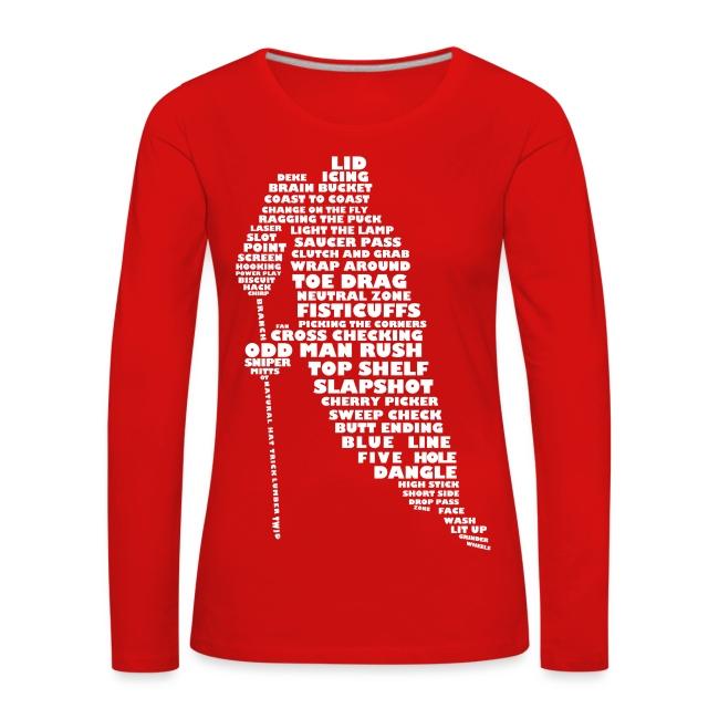 Hockey Player Typography Women's Long Sleeve T-Shirt