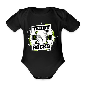 Teddy Rocks Festival baby grow - Organic Short-sleeved Baby Bodysuit