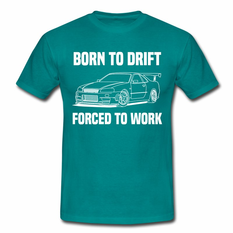 born to drift white Skyline R34 - Men's T-Shirt