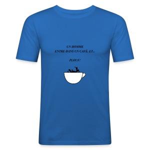 homme café plouf - Tee shirt près du corps Homme