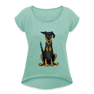 Frauen T-Shirt mit gerollten Ärmeln - Bauceron,Bauceron Shirt,Berner Sennenhund,Dobermann,Hunde Shirt,Hundeschule,Schutzhund
