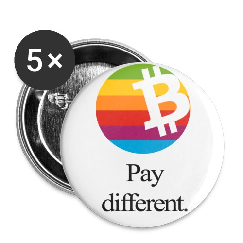 Bitcoin - pay different. Buttons - 5 Stück  - Buttons klein 25 mm (5er Pack)