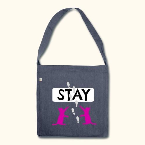 Handtasche mit Katzen-Motiv. Bleib - Stay für Liebhaber von Katzen. - Schultertasche aus Recycling-Material