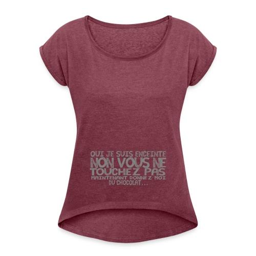 Tshirt-Femme-Enceinte-Chocolat-1 - T-shirt à manches retroussées Femme