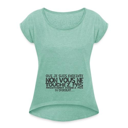 Tshirt-Femme-Enceinte-Chocolat-3 - T-shirt à manches retroussées Femme