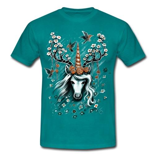 Deer Unicorn Flowers - Men's T-Shirt
