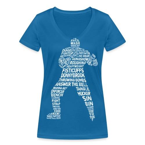 Hockey Enforcer Typography Women's V-Neck T-Shirt - Women's Organic V-Neck T-Shirt by Stanley & Stella