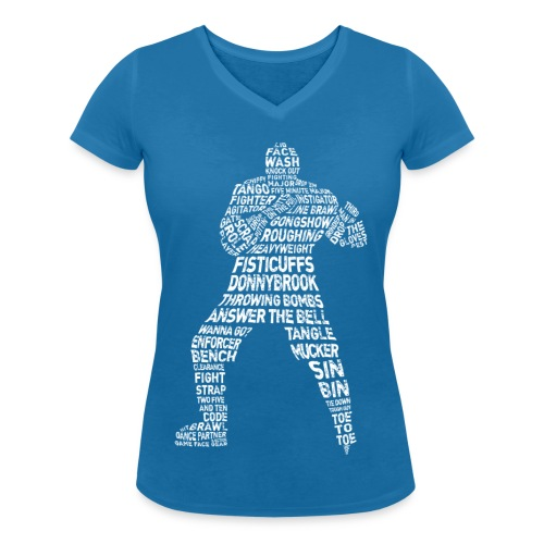 Hockey Enforcer Typography Women's V-Neck T-Shirt - Women's Organic V-Neck T-Shirt by Stanley & Stella