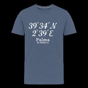 Palma de Mallorca Koordinaten Vintage Weiß S-5XL T-Shirt - Männer Premium T-Shirt