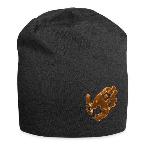 Klaras Fingermalerei auf grauer Mütze - Jersey-Beanie