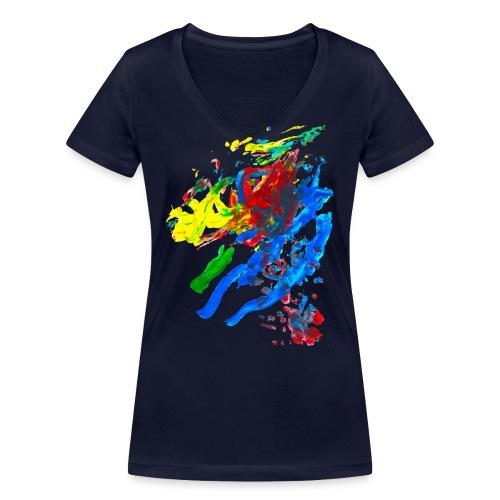 Klaras Fingermalerei auf blauem Frauenshirt - Frauen Bio-T-Shirt mit V-Ausschnitt von Stanley & Stella