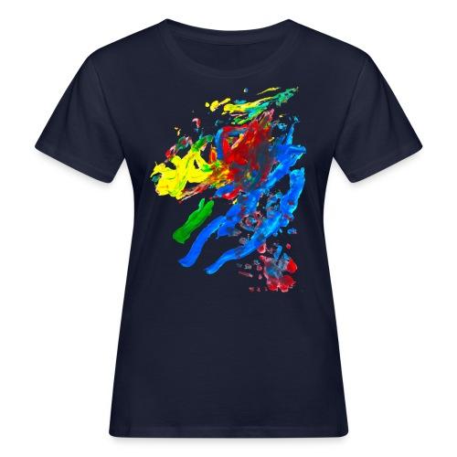 Klaras Fingermalerei auf blauem Shirt - Frauen Bio-T-Shirt