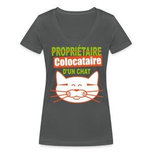 T-shirt colocataire d'un chat femme - T-shirt bio col V Stanley & Stella Femme